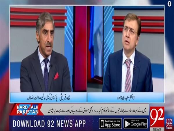 Pakistan ICJ lawyer Khawar Qureshi (L) during a talk show on channel 92 News.