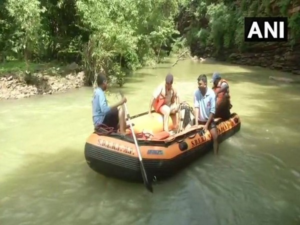 State Disaster Relief Force (SDRF) Bhopal carried out rescue operation near Kerwa dam on Tuesday. (Photo/ANI)