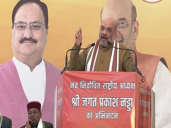 Union Home Minister Amit Shah addressing a gathering at BJP headquarters in New Delhi on Monday. Photo/ANI