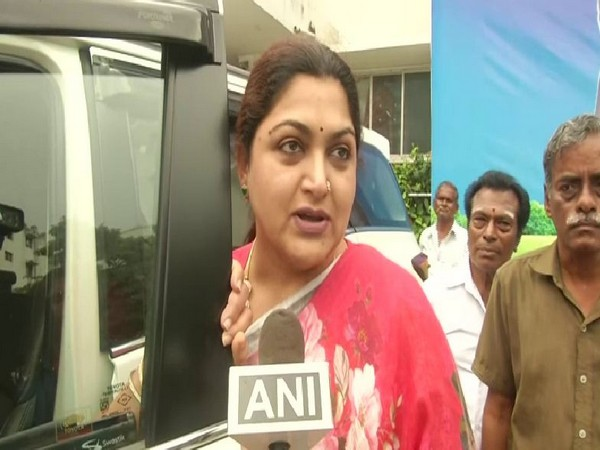 Congress leader Khushboo speaking to ANI on Sunday in Chennai. Photo/ANI
