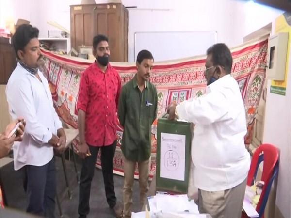 Voting underway in Andhra Pradesh' Vijayawada for Gram Panchayat polls. (Photo/ANI)