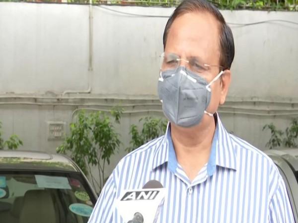 Delhi Health Minister Satyendra Jain speaking to reporters on Sunday. Photo/ANI