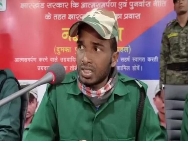 Naxalite Rajendra Rai while speaking to reporters on Friday (Photo/ANI)