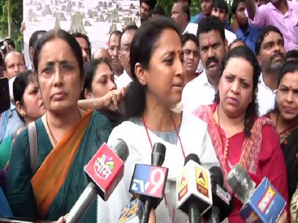 NCP leader Supriya Sule speaking to reporters in Mumbai on Sunday. Photo/ANI