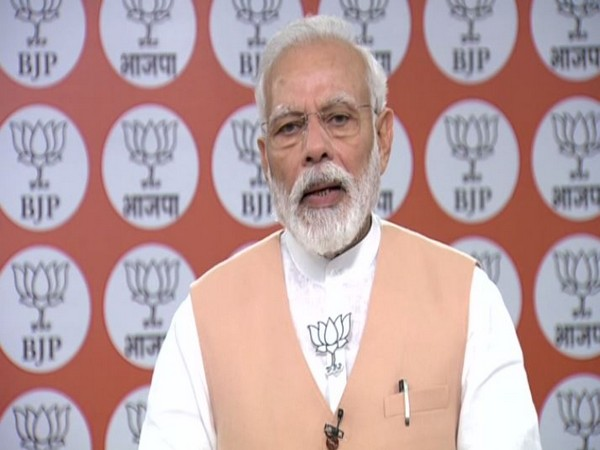 Prime Minister Narendra Modi speaking on the occasion of BJP's 40th Foundation Day on Monday (Photo/ANI)