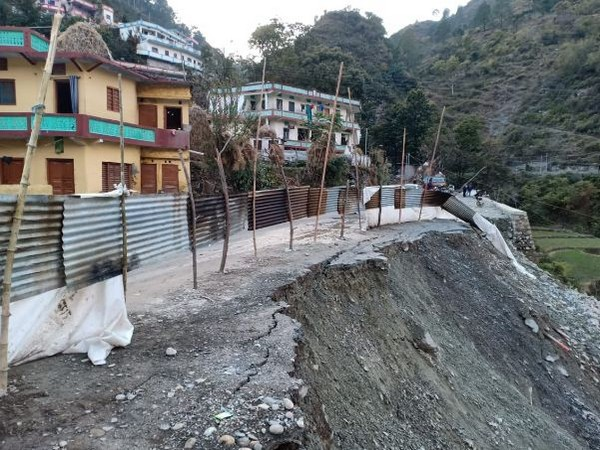 Security wall of the All Weather Road on Gangotri Highway collapsed (Photo/ANI)