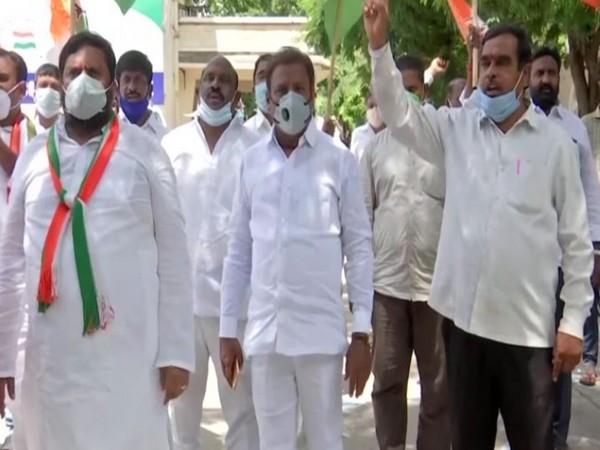Telangana Pradesh Congress Committee (TPCC) leaders in Hyderabad (Photo/ANI)