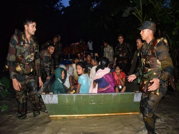 Indian Army personnel rescued at least 160 flood-affected people from Nalabari District, Assam (Photo/ANI)