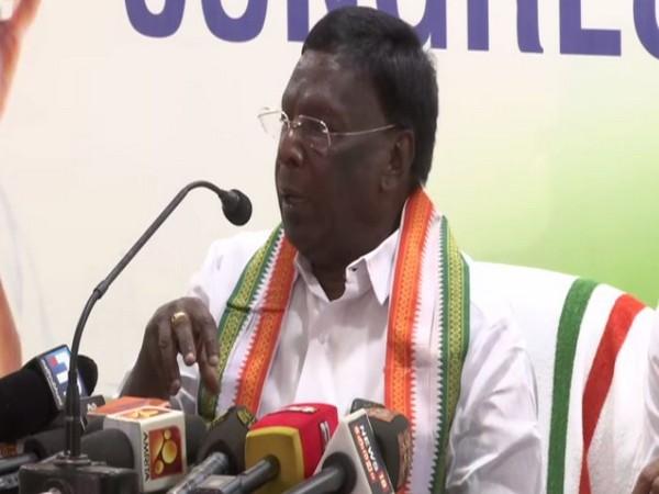 Puducherry Chief Minister V Narayanasamy addressing a press conference in Thiruvananthapuram on Saturday. Photo/ANI