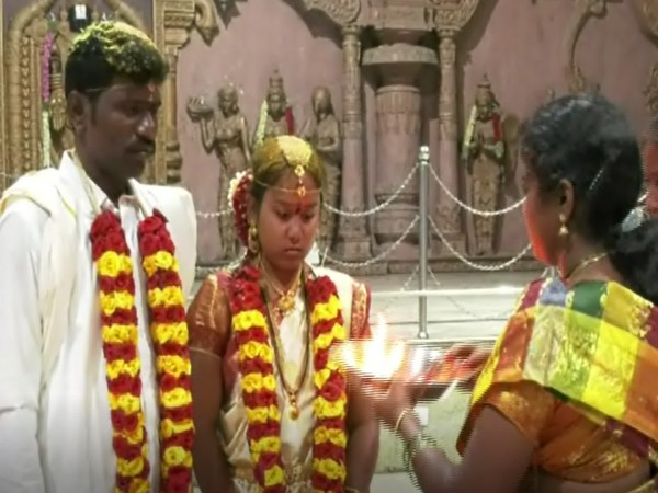A couple got married in Tirumala on Friday (Photo/ANI)