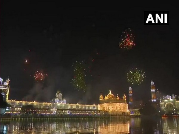 Golden Temple lit up with colourful lights on the occasion of Prakash Parv (Photo/ANI)