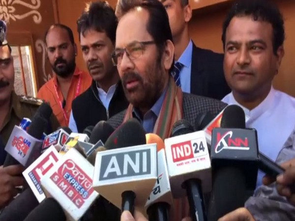 Union Minister Mukhtar Abbas Naqvi while speaking to the reporters in Indore on Sunday (Photo/ANI)