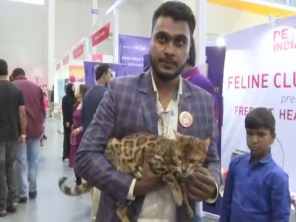 Mohammed Haroon along with his pet Bengal cat (Photo/ANI)