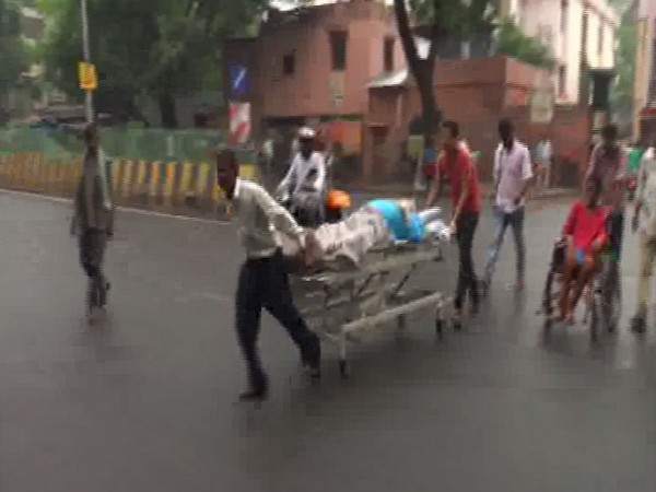 Due to lack of ambulance and other medical facilities, attendants have to drag the patients on stretchers to reach the hospital