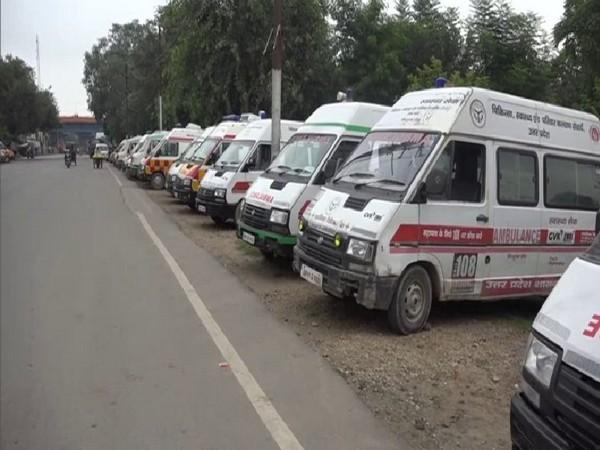 Ambulance service drivers have called a strike in Prayagraj. Photo/ANI