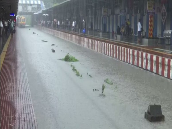 Waterlogging at the Sion railway station. Photo/ANI