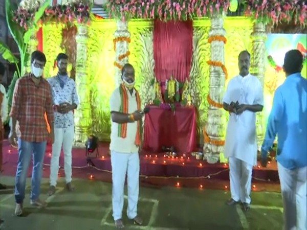 The Telangana Bajrang Dal celebrated the foundation stone-laying ceremony of the Ram Temple in Hyderabad on Wednesday. (Photo/ANI)