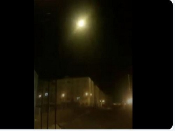 A still from a clip released by The New York Times in which bright stop is the explosion following the missile hit the Ukraine-bound plane