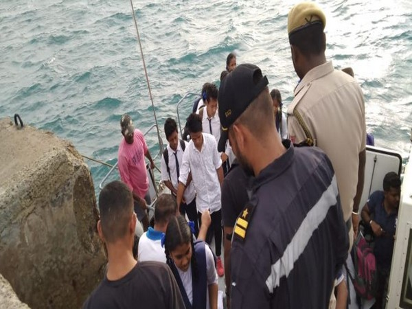 The Indian Coast Guard evacuated 50 people from a grounded ferry in Andaman and Nicobar islands on Friday. (Picture Courtesy: Indian Coast Guard)