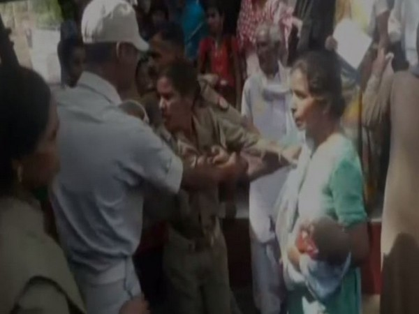 PRD personnel was beaten up while being on duty in Sitapur on Tuesday. Photo/ANI