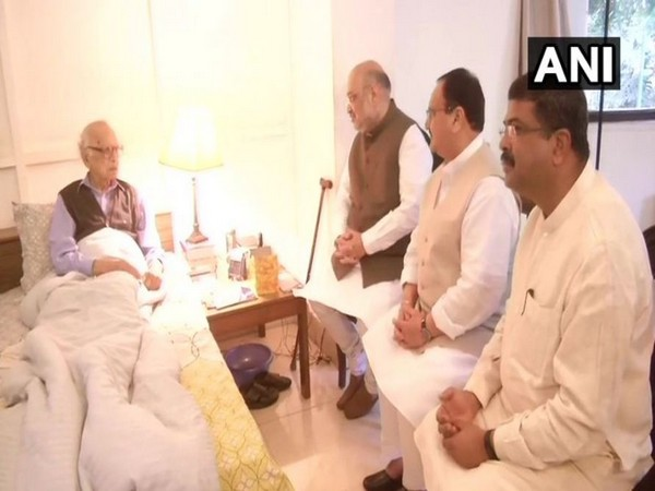 BJP president Amit Shah, BJP working President JP Nadda along with party leader Dharmendra Pradan met Former Governor of Jammu and Kashmir, Jagmohan on Tuesday. (Photo/ANI)