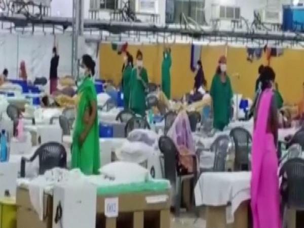 People performing Yoga at Radha Soami Satsang Beas COVID Care facility. Photo/ANI