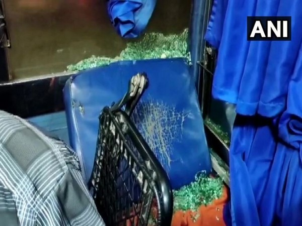 Stones were pelted on a Tirupati-Mangaluru in Farangipet in Mangaluru on Thursday.