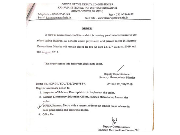 Kamrup Metropolitan district administration withdraws order announcing a two-day holiday for schools in view of 'severe heat condition'. (Photo/ANI)