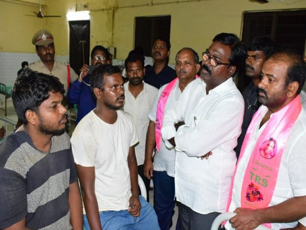 Telangana Transport Minister P Ajay Kumar met the kin of those who died after a boat capsized in East Godavari. (Photo/ANI)