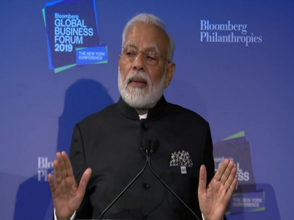 Prime Minister Narendra Modi during his addreess at the Bloomberg Global Business Forum on Wednesday. Photo/ANI