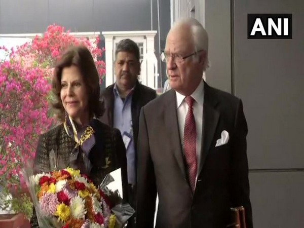 Queen Silvia and Swedish King Carl XVI Gustaf arrived at Delhi Airport on Monday (Photo/ANI)