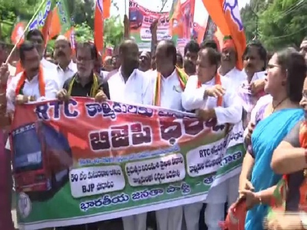 BJP lends support to TSRTC employees' strike against Telangana government on Saturday. Photo/ANI