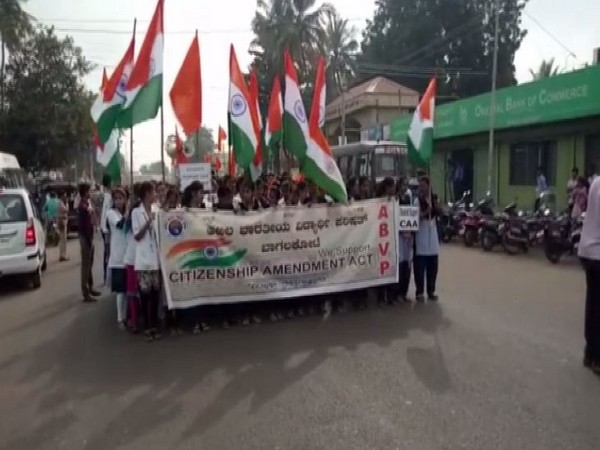 Students staging a march in favour of new citizenship law in Bagalkot, Karnataka on Friday.