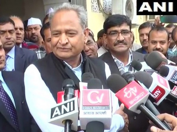 Rajasthan Chief Minister Ashok Gehlot while speaking to the reporters on Saturday (Photo/ANI)