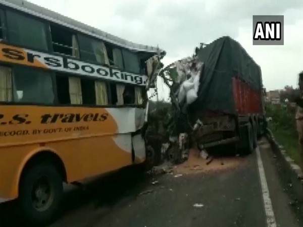 At least six people died and ten got injured after a bus collided with a truck on Pune-Bangalore Highway on Thursday. (Photo/ANI)