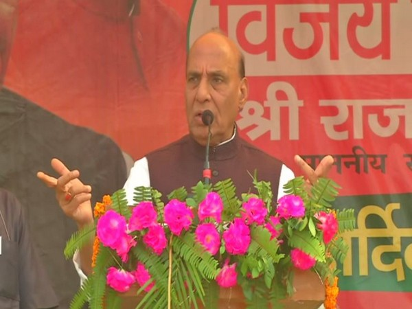 Defence Minister Rajnath Singh while addressing an election rally in Garhwa, Jharkhand on Sunday. Photo/ANI