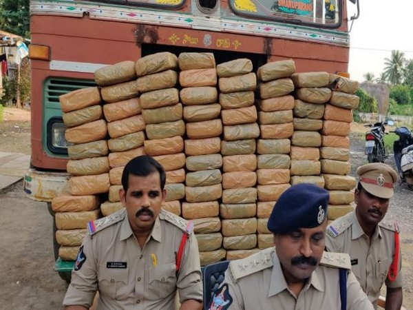 Veeravalli police arrested two people and seized 200 kilograms of cannabis worth Rs 20 lakh from a lorry in Sitarampuram village, Krishna district. (Photo/ANI)
