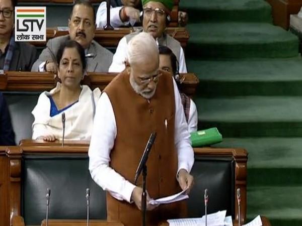 Prime Minister Narendra Modi in the Lok Sabha