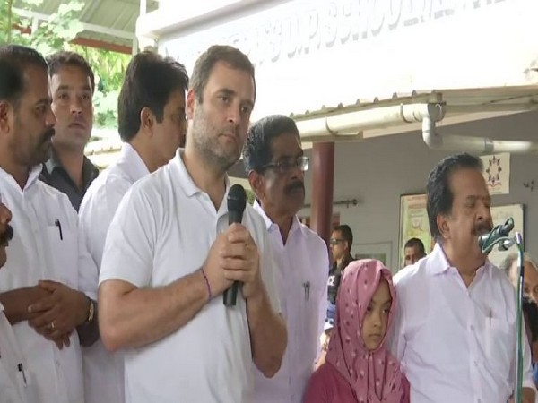 Congress leader Rahul Gandhi while addressing the flood-affected people in Meppadi, Wayanad on Monday. (Photo/ANI)