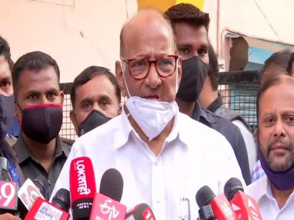 NCP chief Sharad Pawar speaking to reporters (Photo/ANI)