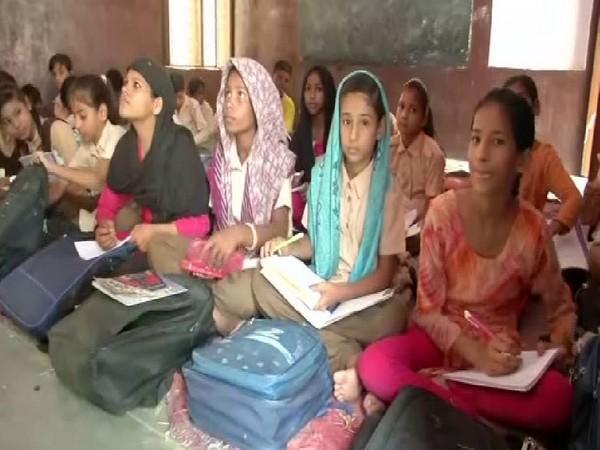 Students of the state-run school in Jaipur's Shastri Nagar. Photo/ANI