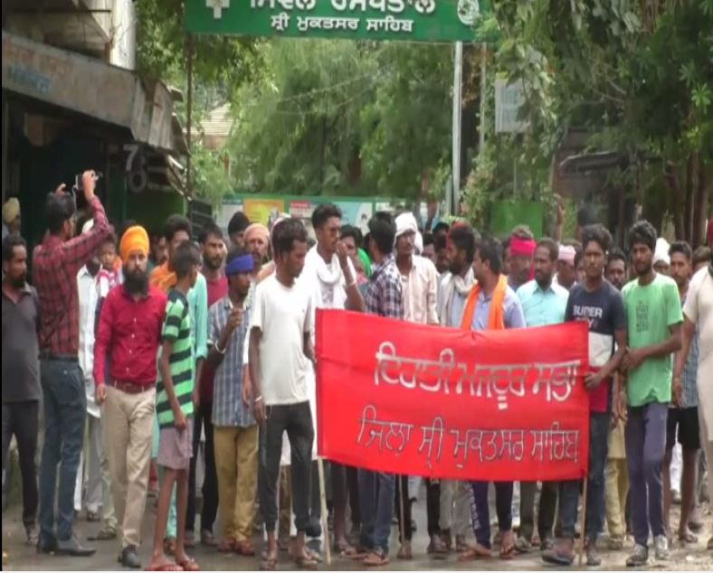 Villagers protest against double murder in the district on Monday. Photo/ANI