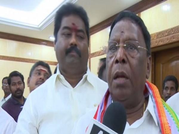 Chief Minister V Narayanasamy speaking to ANI on Friday.
