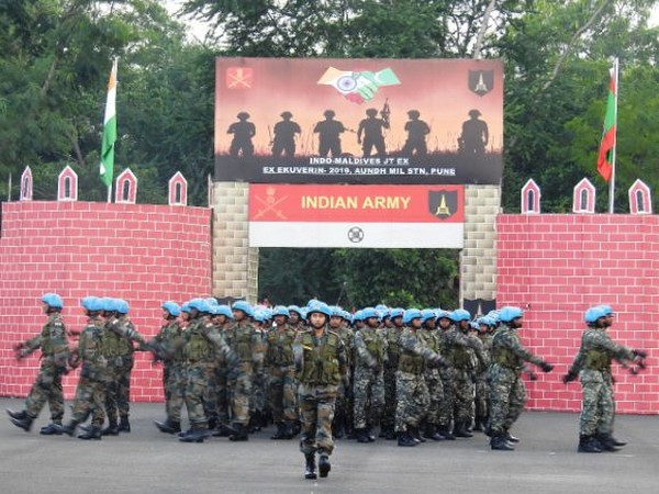 The tenth edition of the Indo-Maldives Joint Military called 'Exercise Ekuverin-2019' commenced at undh Military Station in Pune, Maharashtra on Monday. (Photo/ANI)