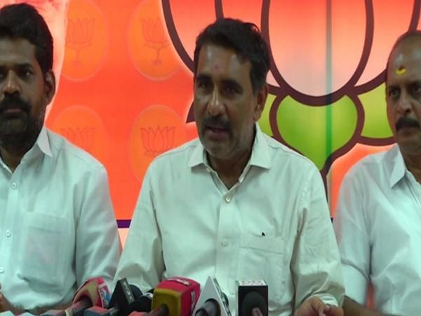 BJP leader B Gopalakrishnan addressing media in Kochi on Wednesday. Photo/ANI
