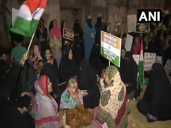 Women holding protest in Madanpura, Mumbai Central. (Photo/ANI)