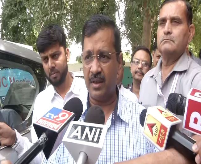 Delhi Chief Minister Arvind Kejriwal speaking to media persons in Delhi on Sunday. Photo/ANI