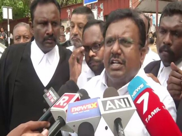 A Madras High Court advocate speaking to reporters in Chennai on Monday. (Photo/ANI)