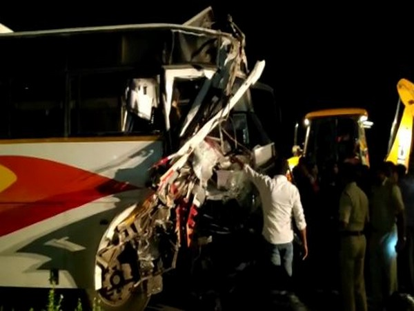 As many as 16 passengers were injured in bus-container lorry accident on Tuesday in Chittoor District. (Photo/ANI)