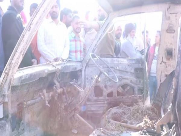The burnt school van in Punjab's Sangrur (Photo/ANI)